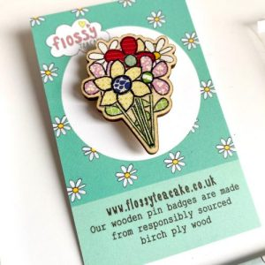 Flossy Teacake Flower Bouquet Wooden Pin Badge - IMG 20210301 WA0043 500x500