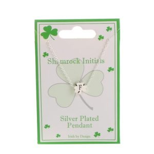 Ladies Tiny Silver Plated Shamrock Initial Pendant F