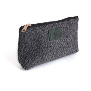 Ladies Grey Herringbone Tweed Cosmetic Bag