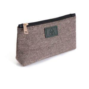 Ladies Brown Herringbone Tweed Cosmetic Bag