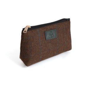 Ladies Brown Check Tweed Cosmetic Bag