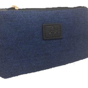 Ladies Blue Herringbone Tweed Cosmetic Bag