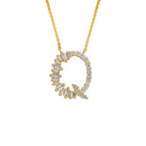 GOLD PLATED STERLING SILVER INITIAL NECKLACE – LETTER Q