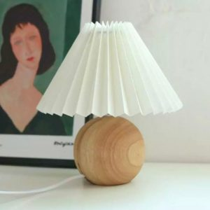 Ceramic Pleated Lamp - Wood and Ivory - MUCUA LINE SHEET 2021 10 500x500