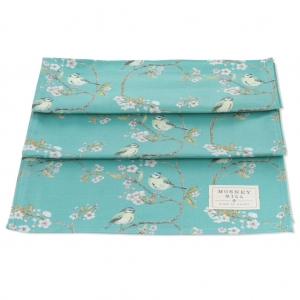 Blue Tit on Blossom Ditsy Print Table Runner (Turquoise)