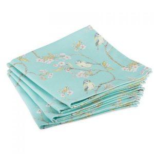 Blue Tit on Blossom Napkins (Turquoise) – (Set of 4)