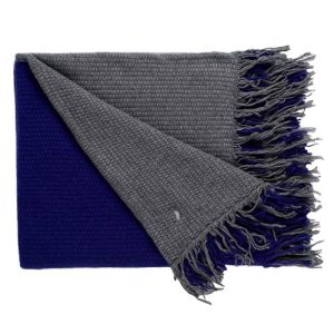 Blue cashmere and wool double-sided blanket