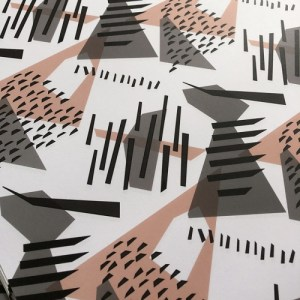 Bluethroat Gift Wrap. Surface pattern created by abstracting colours and shapes from a variety of birds