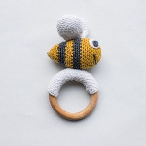 Crochet toy bee with wooden teether - Noox Products036 500x500