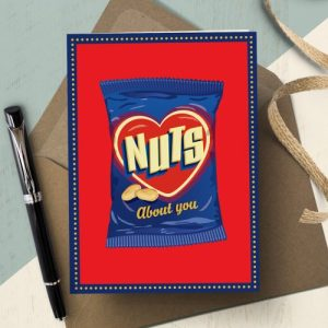 OTS195 Nuts about you love card (x6 cards)