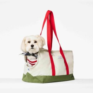 Constantin green and red dog carrier bag