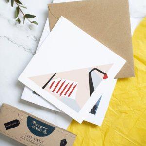 Partridge card. Geometric design with kraft envelope