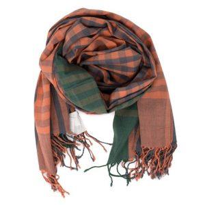 Green & Peach Checks unisex muslin cotton scarf