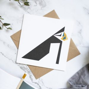 Puffin Card. Geometric design with kraft envelope
