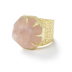 YAA YAA LONDON 'HOLD ON' ROSE QUARTZ GOLD STATEMENT RING - ROSE PINK RING Exclusive 500x500