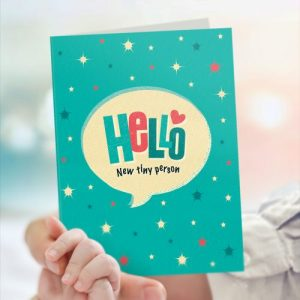 ST71 Hello new baby boy card (x6 cards) - ST 71 HELLO new tiny person boy h 500x500