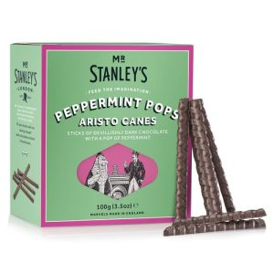 Peppermint Pops Aristo Canes (Dark Chocolate with Peppermint Flavour, Sugar Crunch) - STAN014 PeppermintPopsAristoCanes Side 500x500