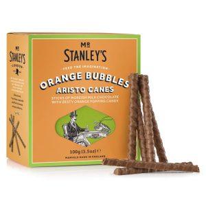 Orange Bubbles Aristo Canes (Orange Flavour Milk Chocolate with Popping Candy) - STAN015 OrangeBubblesAristoCanes Side 500x500