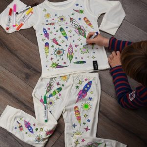 Space Adventure Colour In Pyjamas - SpaceAdventure PJs Coloured 500x500