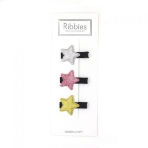 Sparkly Stars on Black Hair Clips - Pink and Gold - Set of 3 - Stars   LR 1 1024x1024 500x500