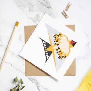 Swallow Card. Geometric design with kraft envelope