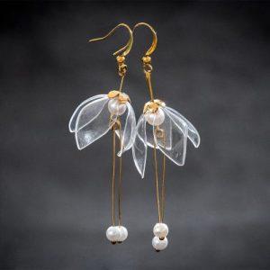 Clear Lily Double-Drop Earrings