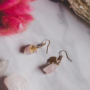 Gold Tone Rose Quartz Rock Statement Earrings - XK083 500x500