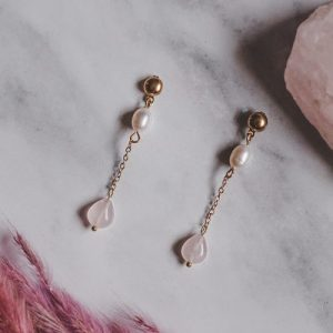 Gold Tone Rose Quartz & Mother of Pearl Extended Drop Earrings - XK092 500x500