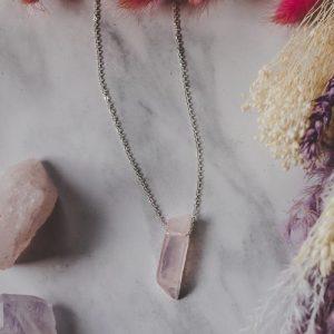 925 Sterling Silver & Rose Quartz Pendant Necklace - XK095 500x500