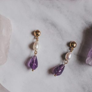 Gold Tone Amethyst & Mother of Pearl Drop Earrings - XK104 500x500