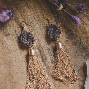 Gold Tone Black Crystal Statement Chain Drop Earrings - XK114 500x500