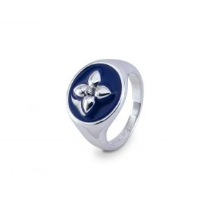 Croisette signet ring in blue lacquered silver and diamond