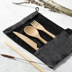 Reusable Bamboo Cutlery Set in Dark Grey (Slate) bag – Handmade