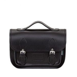 Leather Midi Satchel – Black