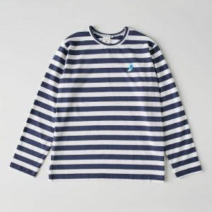 Navy striped organic cotton Chantal human t-shirt - chantal modelo1 02 500x500