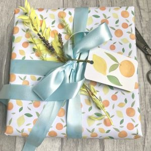 Citrus gift wrap sheets. 100% recyclable. Pack of 25 sheets and matching tags