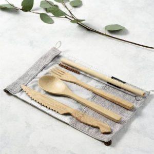 Reusable Bamboo Cutlery Set in Light Grey (Ash) bag – Handmade