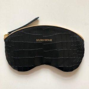 Black Croco Glasses Case