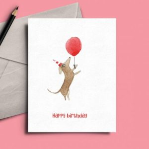 Standing Sausage Dog With Balloon Birthday Card