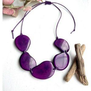 Purple 3 Bead Tagua Necklace