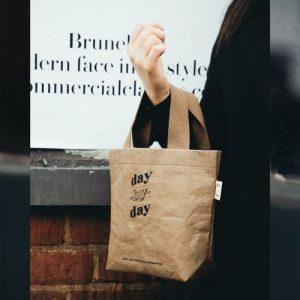 Mini tote bag, Washable paper – Brown, Vegan Leather, paper bag