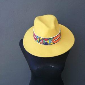Zulu Beaded Fedora Hat – Yellow