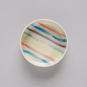 Striped dog bowl