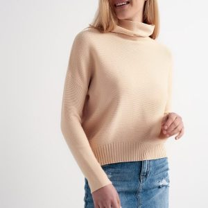 Oversized jumper with cowl neck in beige