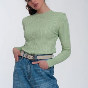 Jumper with shoulder pad in green