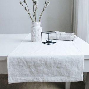 Table Runner Linen White