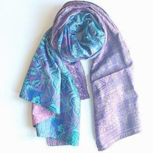 Abstract Print Silk Shawl/Wrap – Purple and Blue