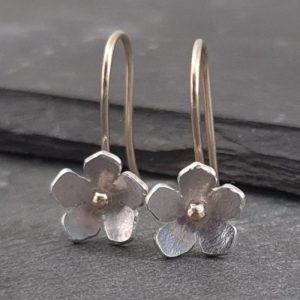 Little Blossom Hook Earrings, Sterling Silver & with 9ct Gold - little blossom 9ct gold sterling silver earrings 731333 1 500x500