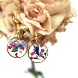 Mixed flower earrings, round