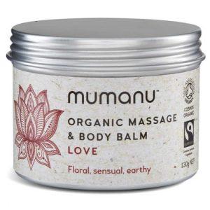 Organic Massage Oil & Body Balm - Love - With Fairtrade Ingredients - mumanu organic fairtrade massage body balm love wb 500x500